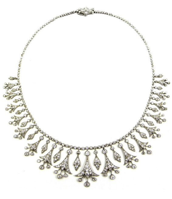 Belle Epoque diamond necklace, circa 1905. Converts to a tiara. Via Diamonds in the Library.