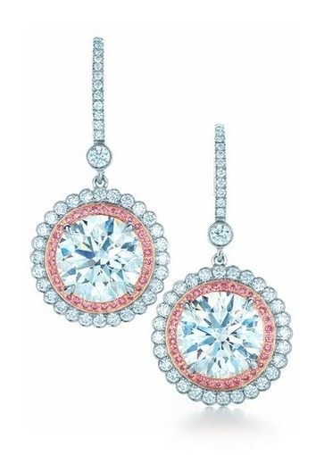 Diamond and pink diamond earrings from the 2013 Tiffany & Co. Blue Book Collection. Via Diamonds in the Library.