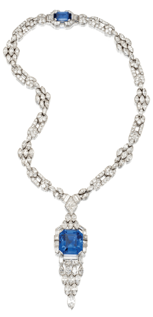 Long view of an Art Deco sapphire and diamond sautoir by Lacloche Frères, circa 1925. Via Diamonds in the Library.