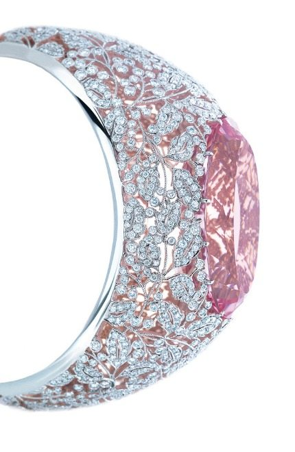 Tiffany & Co bracelet in platinum and rose gold with diamonds and a 74.63-carat pink morganite. From the 2013 Tiffany Blue Book Collection. Via Diamonds in the Library.