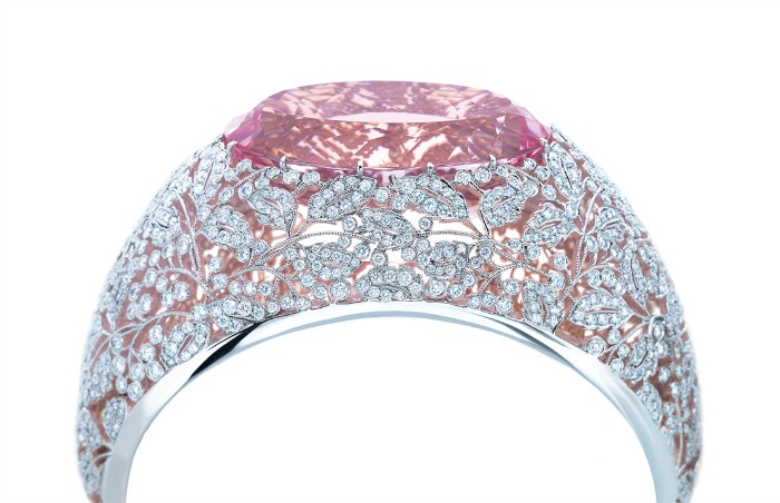 Tiffany & Co. bracelet in platinum and rose gold with diamonds and a 74.63-carat pink morganite. From the 2013 Tiffany Blue Book Collection. Via Diamonds in the Library.