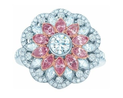 Tiffany & Co. floral pink diamond and diamond ring from the 2013 Tiffany Blue Book Collection. Via Diamonds in the Library.