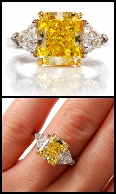 Engagament rings pick for Belle: A 4.33 carat yellow diamond ring by Cartier. The center stone is a rectangular brilliant cut natural fancy intense yellow diamond, flanked on either side by white diamonds (1 carat total). Via Diamonds in the Library.