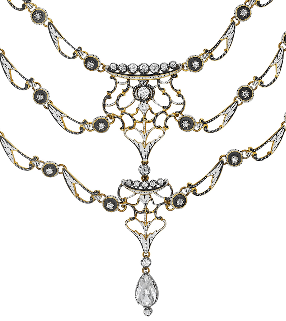 An antique black and white enamel and diamond necklace by Carlo Giuliano.