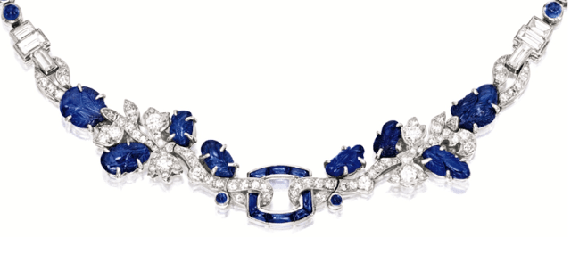 Detail view; a late Art Deco sapphire and diamond necklace by Cartier, circa 1930. Via Diamonds in the Library.
