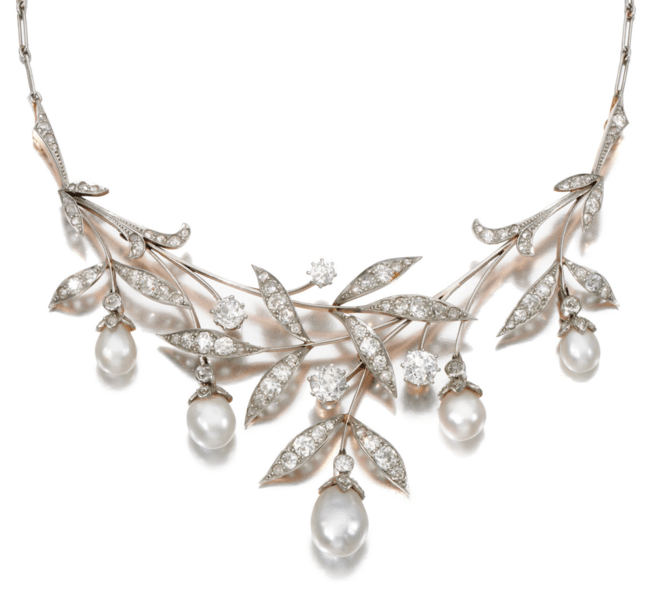 Early 20th century Art Nouveau pearl and diamond necklace. Via Diamonds in the Library.