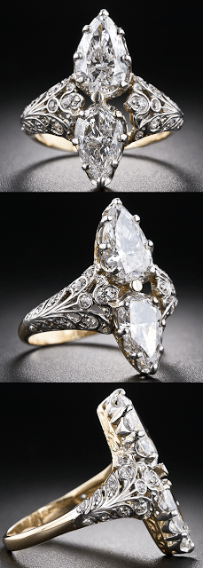 Edwardian twin-stone pear-shape diamond ring. This resplendent diamond ring, dating to the early 20th century, scintillates with a bright-white and shining pair of pear-shaped diamonds.