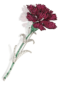 Red carnation brooch by Michele della Valle. Set with 23.58 carats of diamonds. The stems are green tourmaline, and the red flower is red spinel.