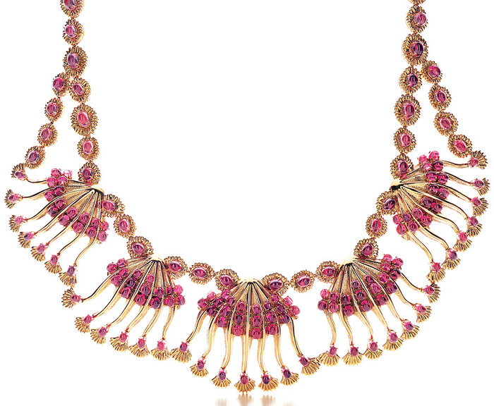 Shell necklace by Jean Schlumberger for Tiffany & Co., made of 18ct gold with cabochon rubellite. From the 2013 Tiffany & Co. Blue Book Collection. Via Diamonds in the Library.