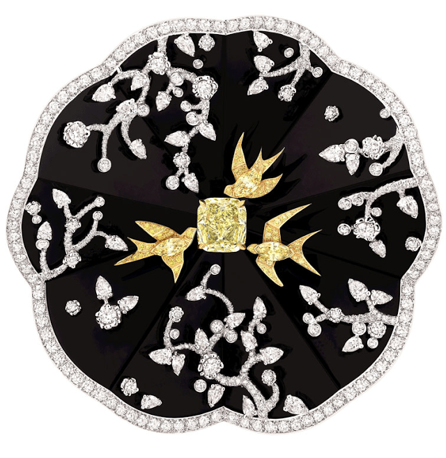The Camélia Coromandel brooch from the Chanel Jardin de Camélias collection.