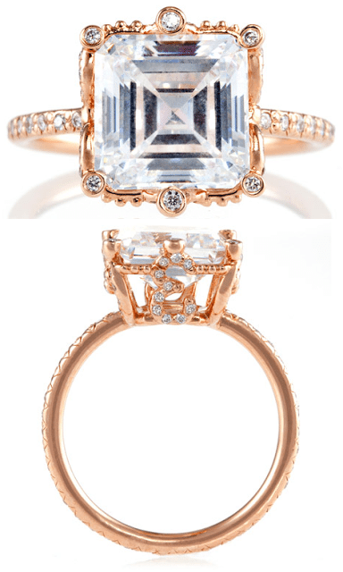 The Erica Courtney Ellen ring in rose gold and diamonds. Via Diamonds in the Library.