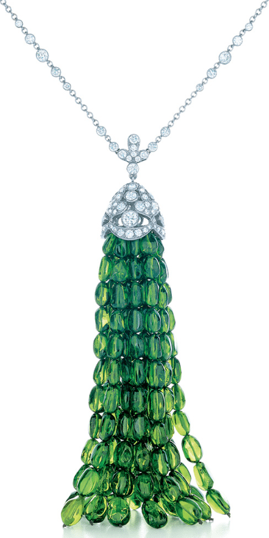 Tiffany & Co. diamond and platinum necklace with a green tsavorite tassel. From the 2013 Tiffany & Co. Blue Book Collection. Via Diamonds in the Library.