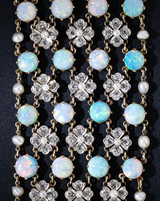 Detail: Belle Epoque opal and diamond choker necklace, circa 1900.