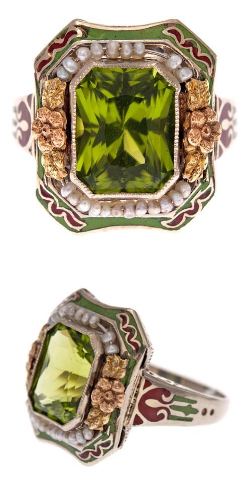 An antique peridot, enamel, and pearl ring.