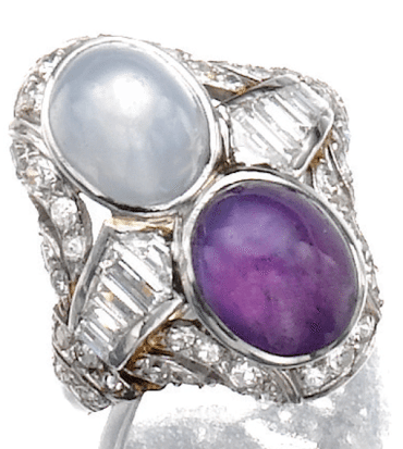 Art Deco light blue star sapphire and dark purple star sapphire and diamond ring