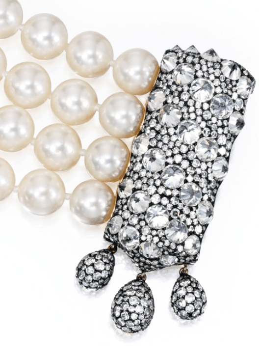 Detail of a gold, blackened silver, diamond and pearl bracelet also by JAR, Paris. Via Diamonds in the Library.