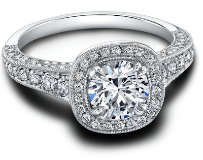 Honor, a vintage-inspired diamond engagement ring by Jeff Cooper. Via Diamonds in the Library.
