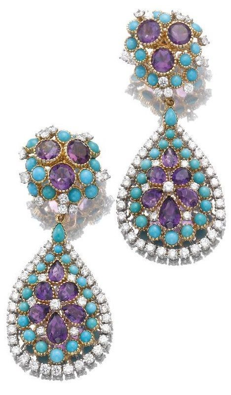 Turquoise, amethyst and diamond earrings by Cartier, Paris. Via Diamonds in the Library.
