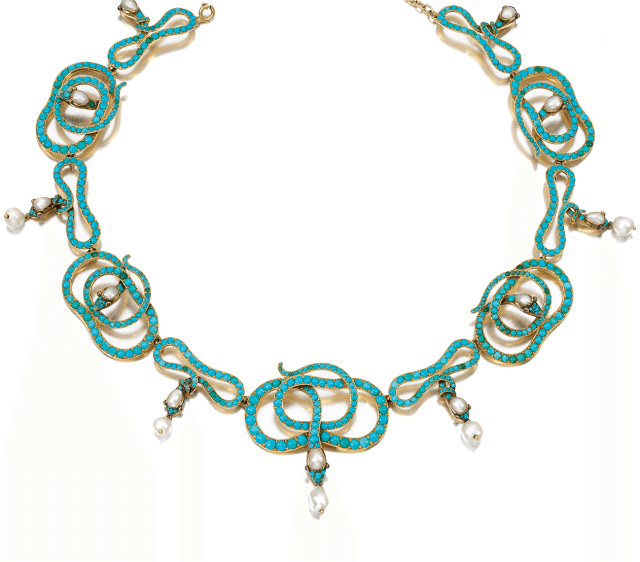 A 19th century turquoise, ruby, and pearl snake necklace. Victorian era. Via Diamonds in the Library.