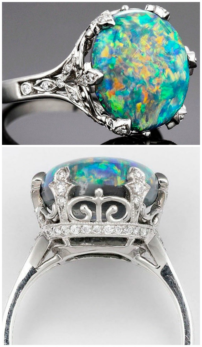 A black opal and diamond ring by Tiffany & Co. Via Diamonds in the Library.