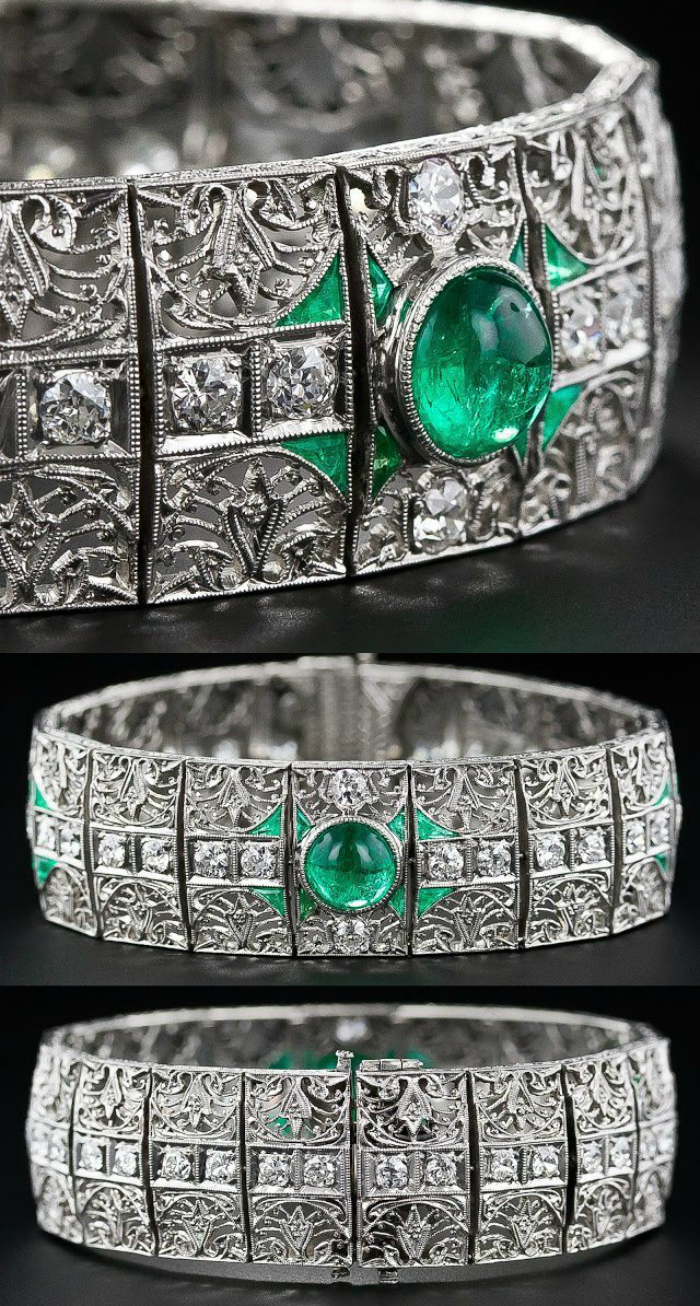 A fantastic antique emerald and diamond bracelet, circa 1910-1920. Via Diamonds in the Library.