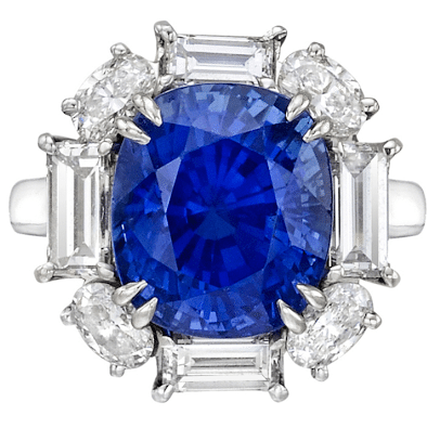 A magnificent and unique sapphire and diamond ring.