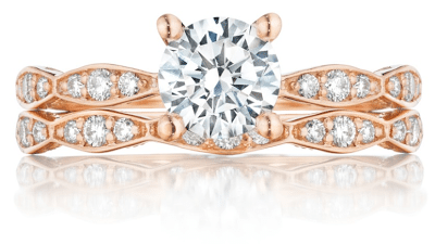 A rose gold and diamond engagement ring and wedding band from Tacori's pretty in pink collection