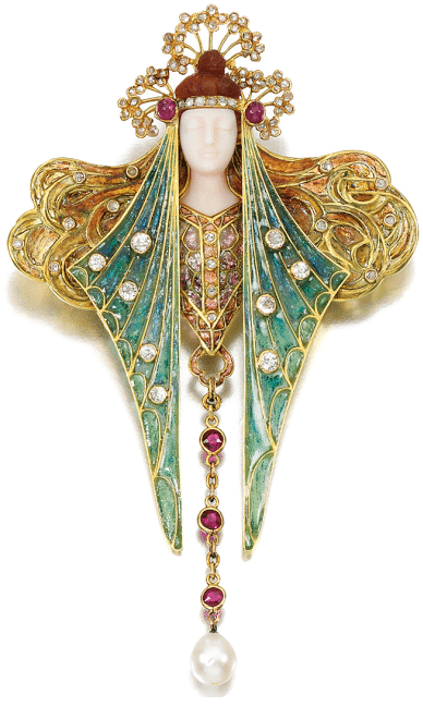 A stunning antique Art Nouveau brooch pendant designed by Georges Fouquet