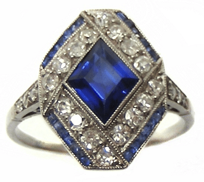 A wonderful antique sapphire and diamond ring