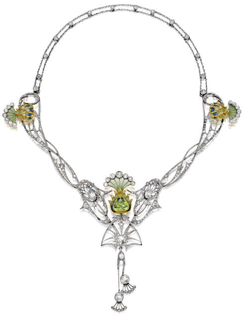 An antique Art Nouveau plique-à-jour enamel, peridot, and diamond necklace, circa 1900.