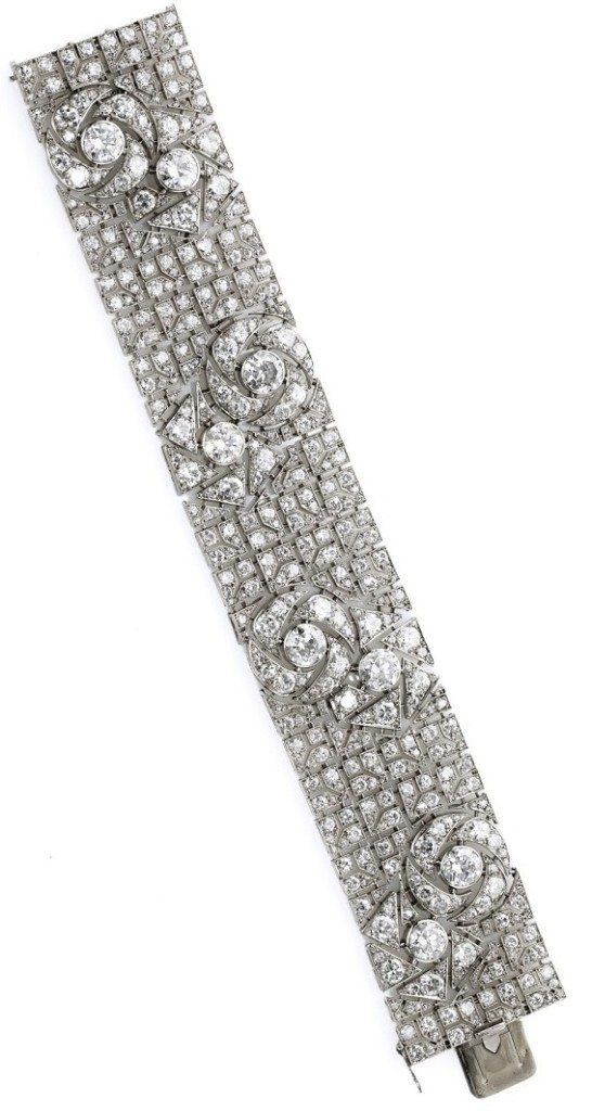Art Deco diamond bracelet with pattern of stylized roses. By Boucheron, circa 1925. Via Diamonds in the Library.