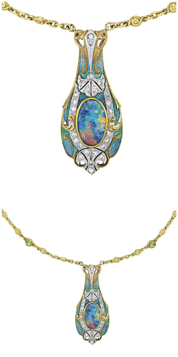 Art Nouveau opal necklace by Tiffany and Co., with enamel and black opal pendant on a peridot and opal-studded gold chain. Circa 1900.