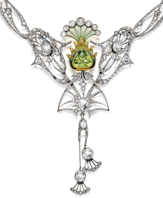 Art Nouveau plique-à-jour enamel, peridot, and diamond necklace, circa 1900.