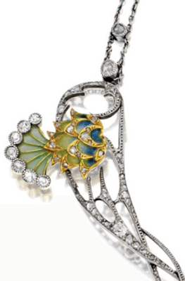 Detail; Art Nouveau plique-à-jour enamel, peridot, and diamond necklace, circa 1900.