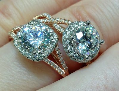 Detail - Rose gold and diamond engagement rings by Coast Diamond. Via Diamonds in the Library.