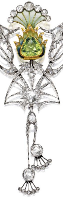 Detail of an Art Nouveau plique-à-jour enamel, peridot, and diamond necklace, circa 1900.