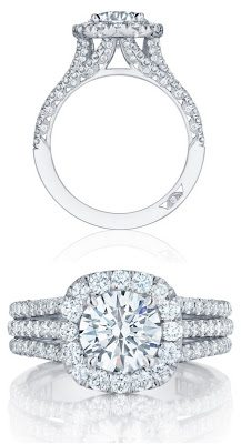 Diamond engagement ring by Tacori. Check out that triple-layered diamond band!