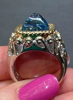 Elaborate aquamarine cocktail ring by Martin Flyer. Via Diamonds in the Library.