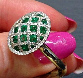 Emerald and diamond ring by Martin Flyer. Via Diamonds in the Library.