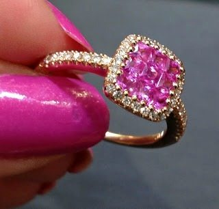 Gemstone and diamond ring in rose gold, by Martin Flyer. Via Diamonds in the Library.