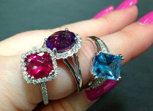 Gemstone and diamond rings by Coast Diamond. Via Diamonds in the Library.
