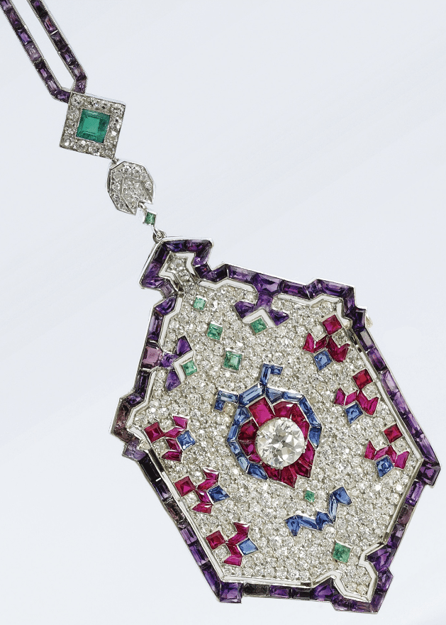 Pendant detail - Art Deco diamond and gem-set ladybug sautoir. Circa 1920's. Via Diamonds in the Library.