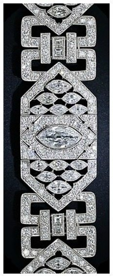 Antique Art Deco 26 carat diamond and platinum bracelet.