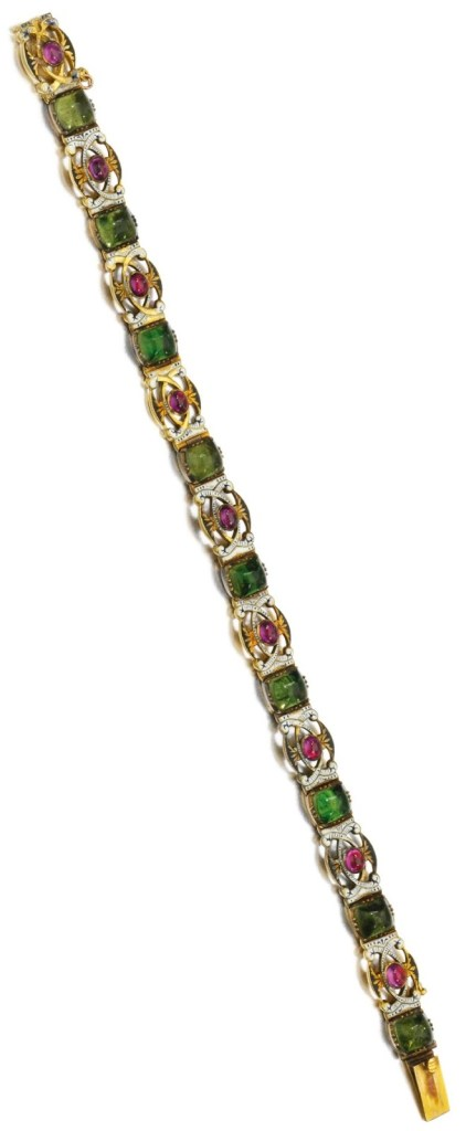 Antique enamel and ruby bracelet by Carlo Giuliano.