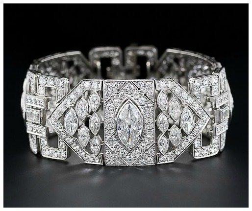 Art Deco 26 carat diamond and platinum bracelet. Via Diamonds in the Library.