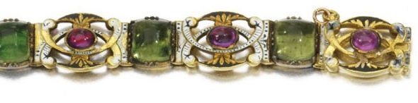 Detail of an enamel and ruby bracelet by Carlo Giuliano.