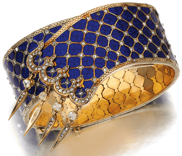 Victorian gold, enamel, and diamond bracelet with guilloché enamel and highlighted with circular-cut and rose diamonds. Via Diamonds in the Library.