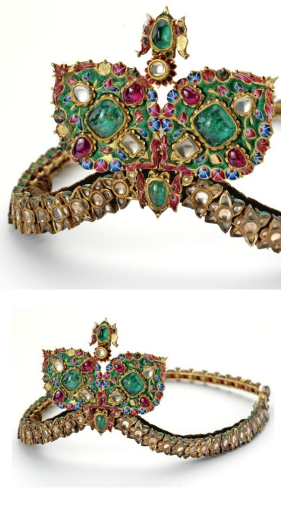 A remarkable antique diamond, gemstone, and enamel diadem, circa 19th century.