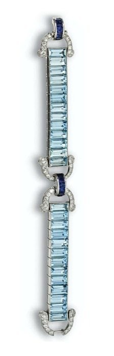 Alternate view; Art Deco aquamarine, sapphire, and diamond bracelet, Cartier.