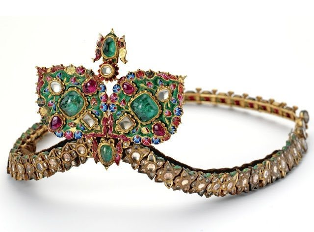 Antique diamond, gemstone, and enamel diadem from the 19th century.